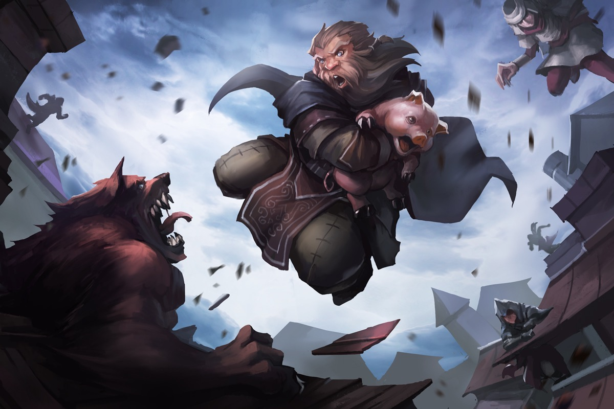 Harsk the Dwarven Ranger saving a pig