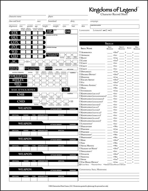 Printable Pathfinder Character Sheets Related Keywords - Printable ...