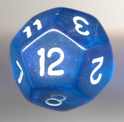 A blue dodecahedron die, often used for games like Dungeons and Dragons