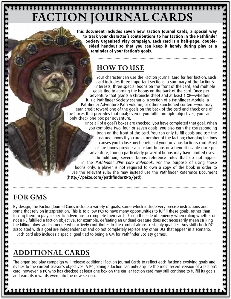 Faction Journal Cards - link a paizo