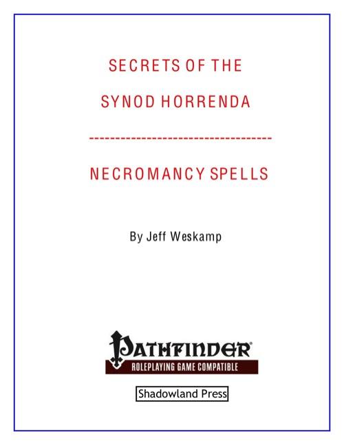paizocom secrets of the synod horrenda necromancy